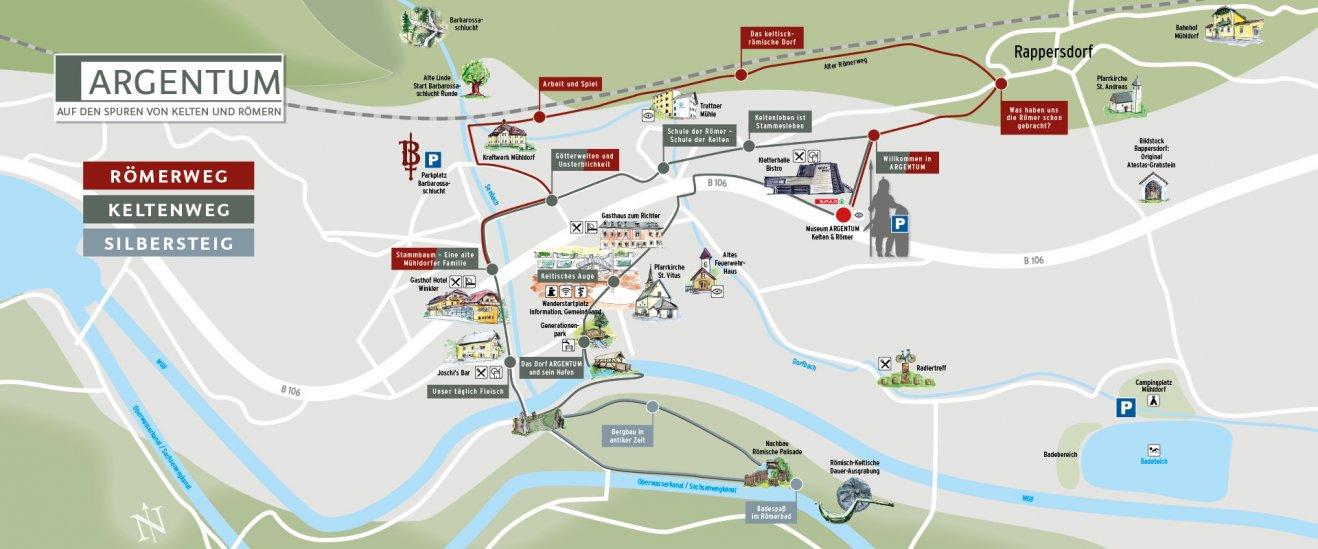 Hier sehen Sie eine Karte von Mühldorf, in der die historischen Rundwege sowie viele weitere Mühldorfer Highlights eingetragen sind.